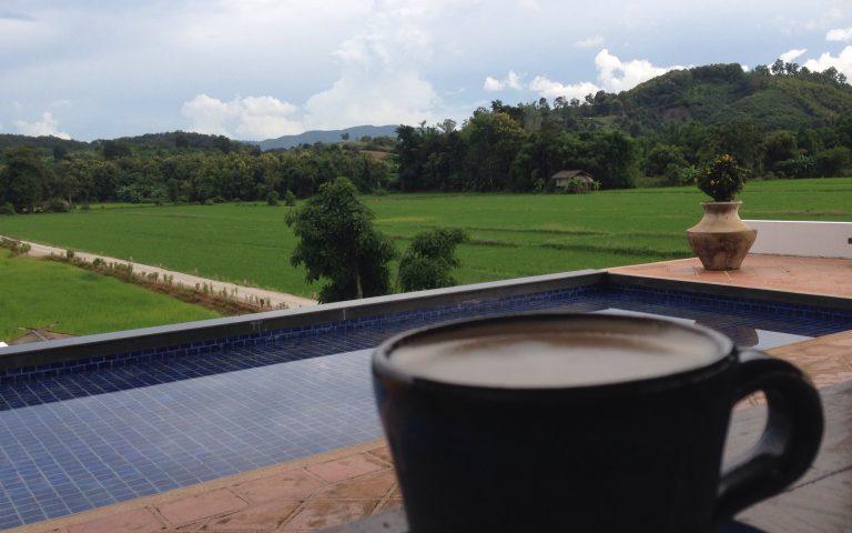 Кофе, бассейн, рисовые поля
