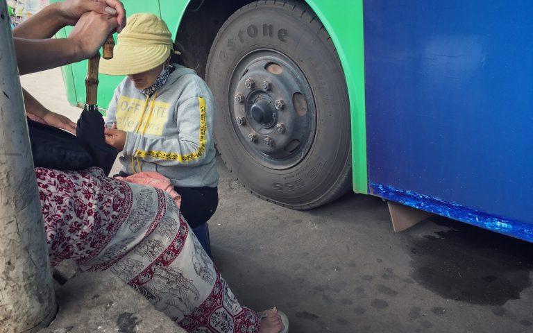 Сервис в Лаосе для ожидающих автобус