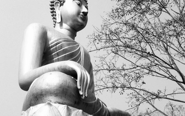 Будда осенний, черно-белый